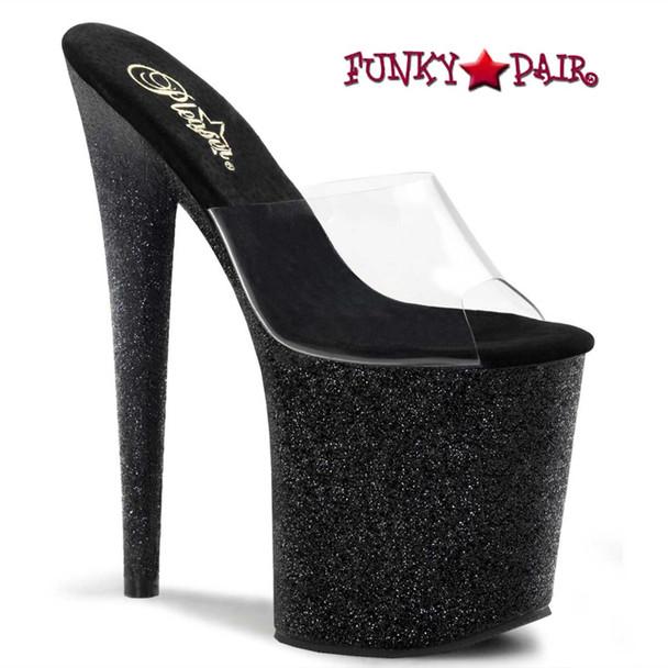 Flamingo-801SDG, Black 8 Inch Exotic Dancer Glitter Bottom Slide   Pleaser