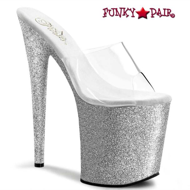 Flamingo-801SDG, Silver 8 Inch Exotic Dancer Glitter Bottom Slide   Pleaser