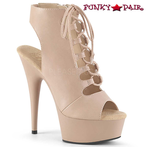 Pleaser | Delight-600-20, Open Toe Lace Up Platform Ankle Boots Color Nude
