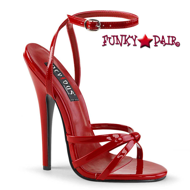 """6"""" Red Stiletto Heel Wrap Around Knotted Strap Sandal by Pleaser Domina-108"""