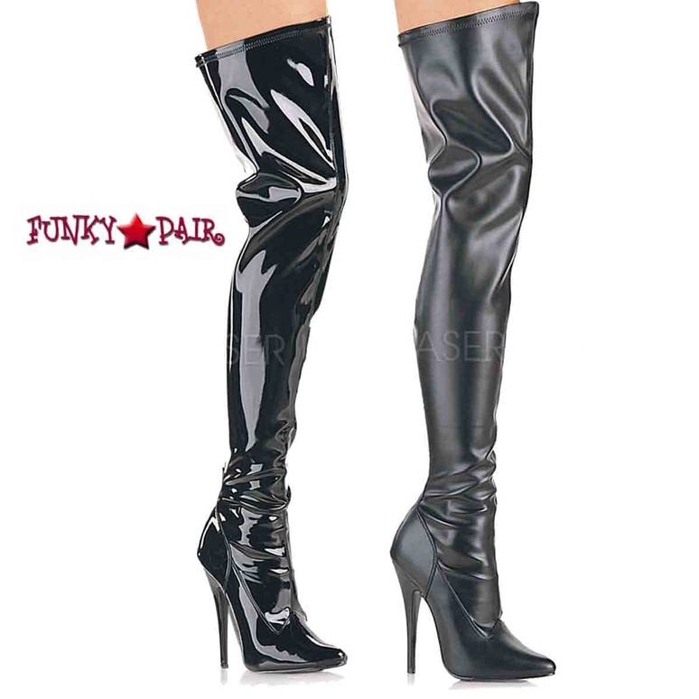 Domina-3000, stretch thigh high boots  available sz 6-16 and color in black patent or black faux leather * Made by Devious