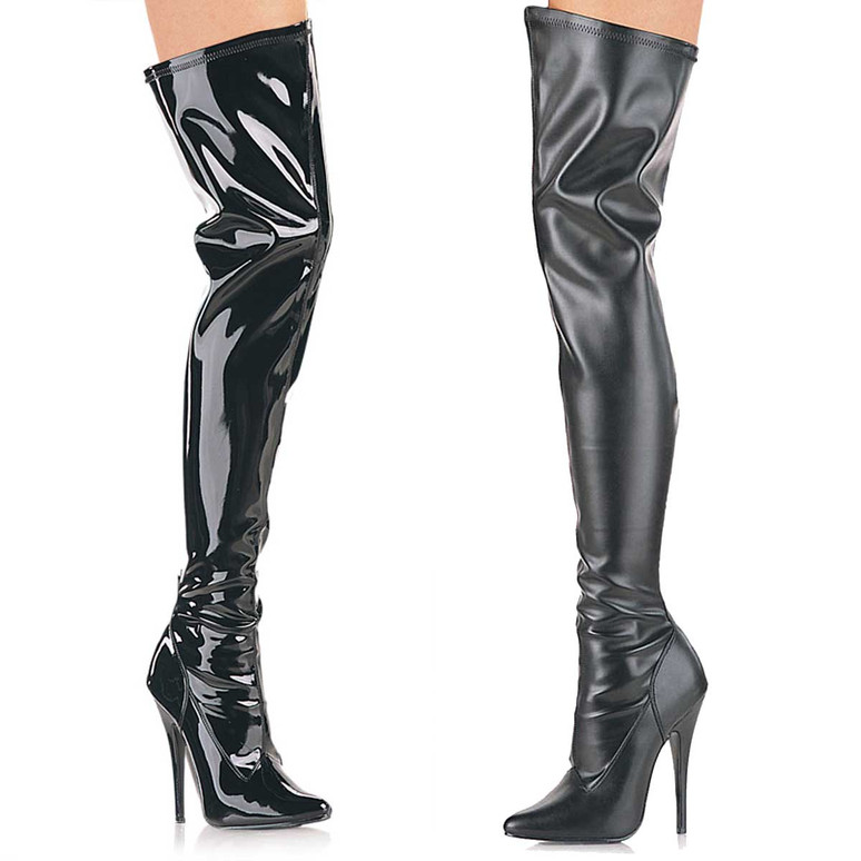 Stretch Thigh High Boots  Devious | Domina-3000,