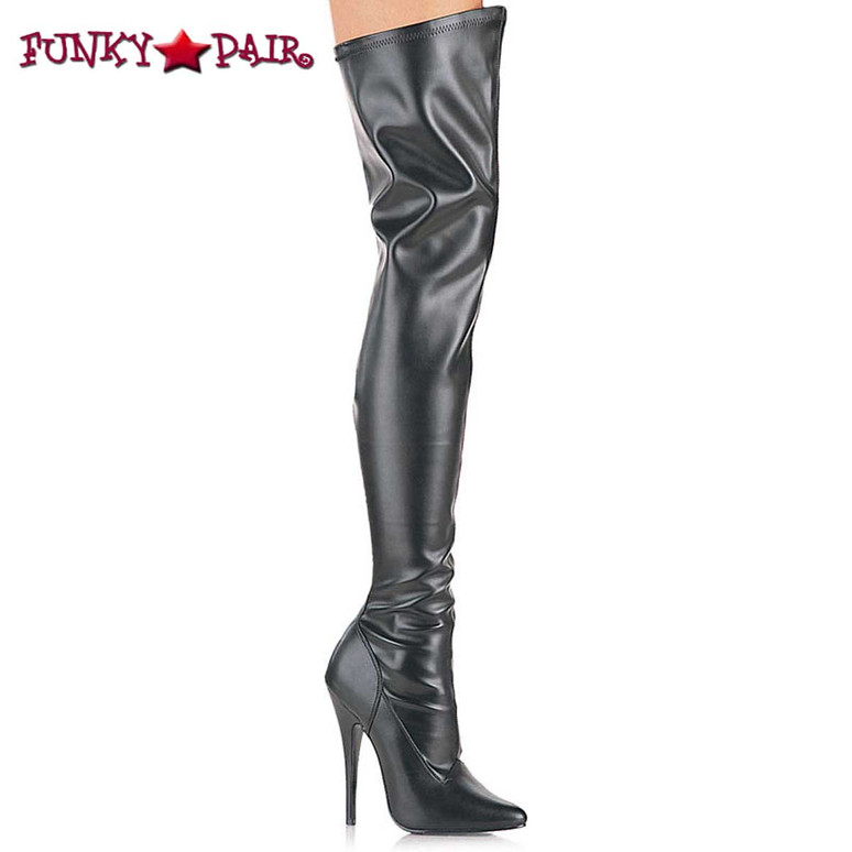 Domina-3000, stretch thigh high boots  available sz 6-16 color black Faux Leather * Made by Devious
