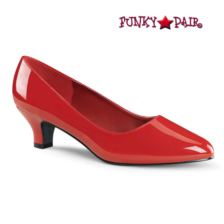 "Fab-420 2"" Red Block Heel Classic Pump"
