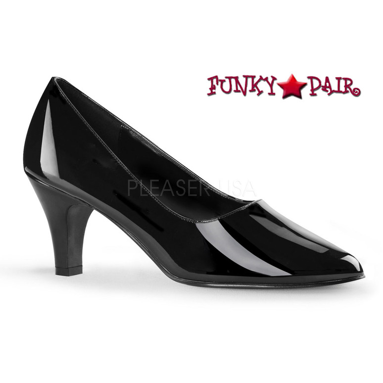 Pink Label | Divine-420 Womens Block Heel Pump Large Size 9-16 color black patent