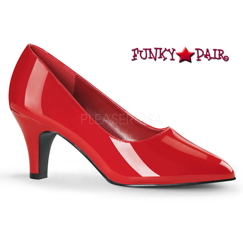 Pink Label | Divine-420 Womens Block Heel Pump Large Size 9-16 color red patent