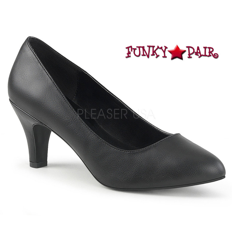 Pink Label | Divine-420 Womens Block Heel Pump Large Size 9-16 color black faux leather