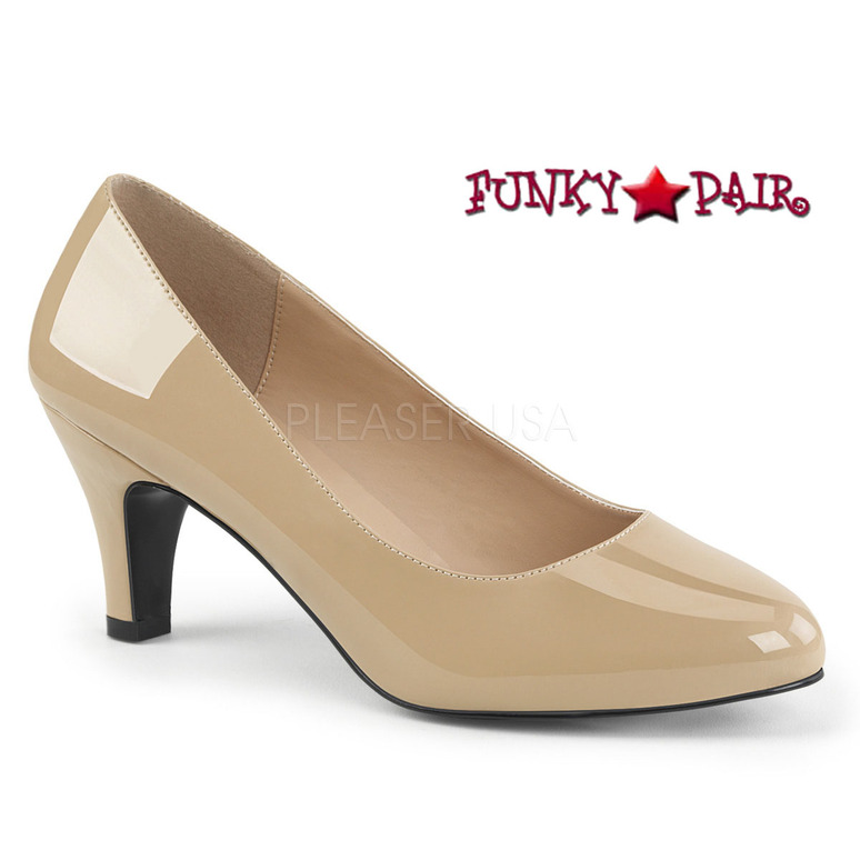 Pink Label | Divine-420 Womens Block Heel Pump Large Size 9-16 color cream patent
