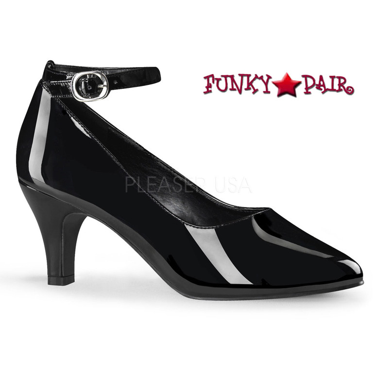 Pink Label | Divine-431, Block Heel Ankle Strap Pump Size 9-16  color black patent