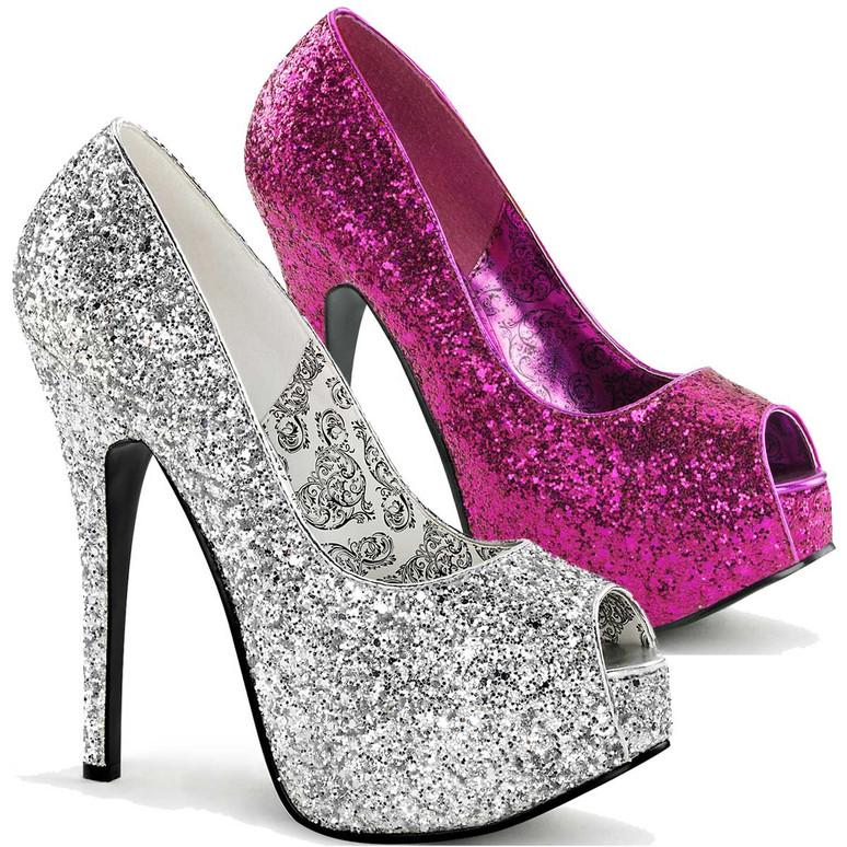 Teeze-22G, Glitter Peep Toe Pump Bordello Shoes