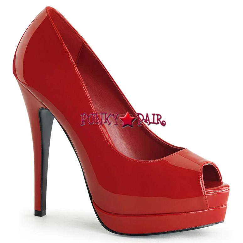 Bella-12, 5.25 Inch Heel Peep Toe Pump color red
