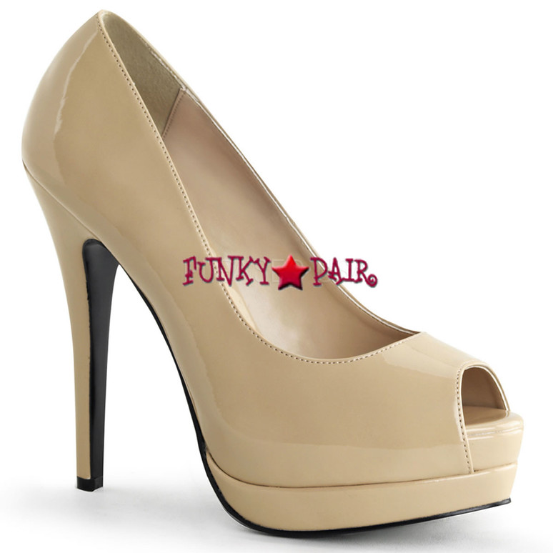 Bella-12, 5.25 Inch Heel Peep Toe Pump color cream