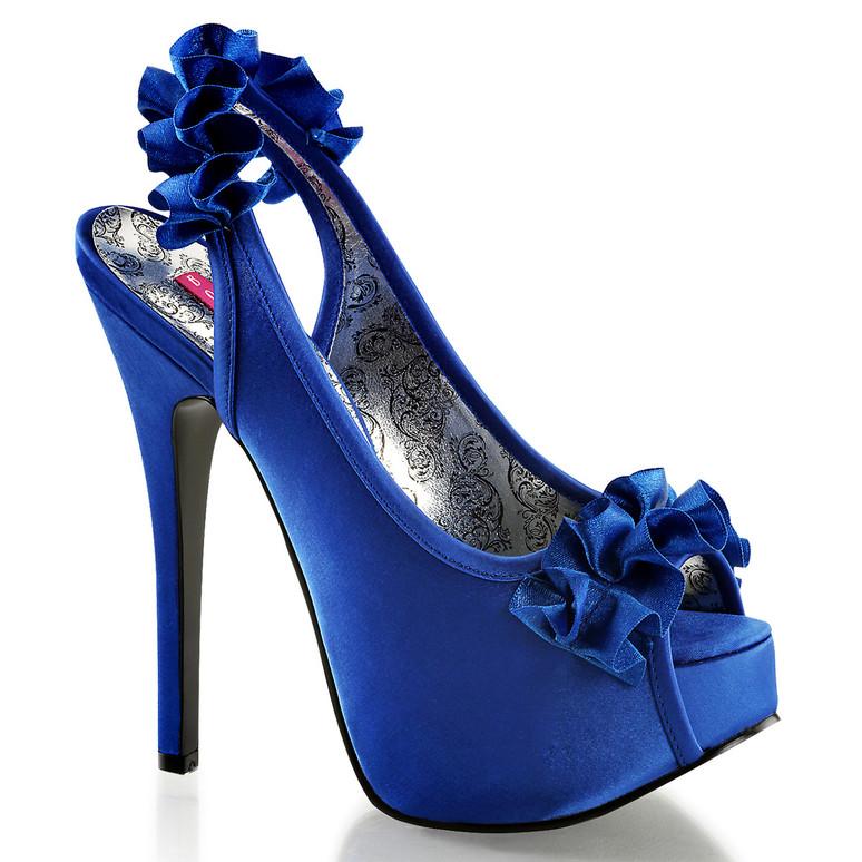 Bordello | Teeze-56, Peep Toe Sling Back Pump color blue