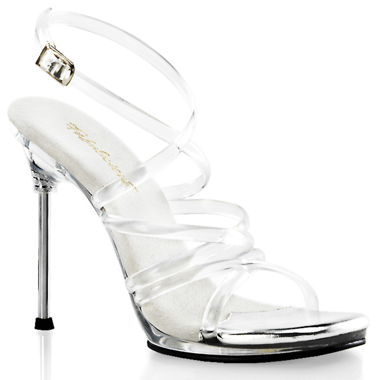 """4.5"""" Clear Criss Cross Strappy Sandal Fabulicious 