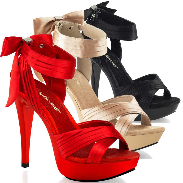 """Cocktail-568, 5"""" Sandal with Criss Cross Pleated Straps"""
