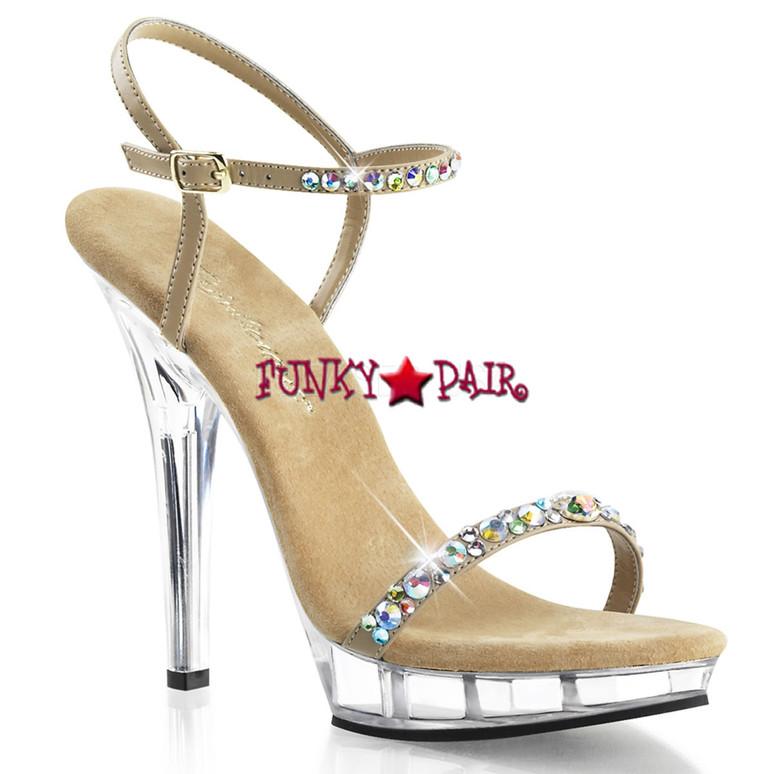 "Pleaser | Lip-131, 5"" Rhinestones Ankle Strap Sandal"