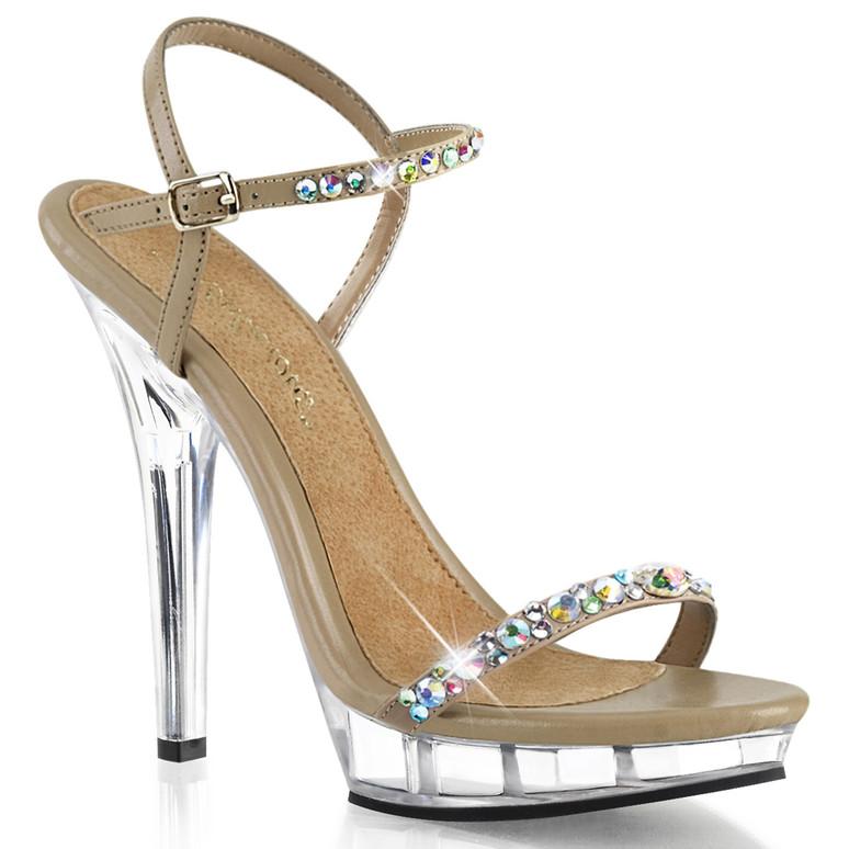"Lip-131, 5"" Rhinestones Ankle Strap Sandal | Fabulicious"