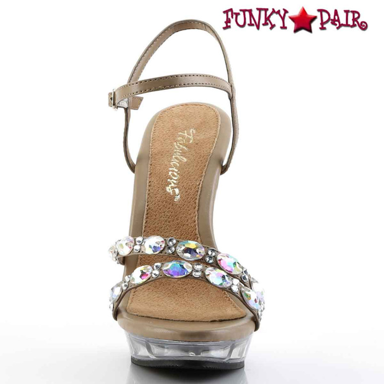 "Pleaser | Lip-133, 5"" Ankle Strap Sandal with Rhinestones Front View"