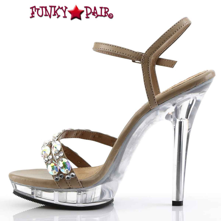 "Pleaser | Lip-133, 5"" Ankle Strap Sandal with Rhinestones Inner Side View"