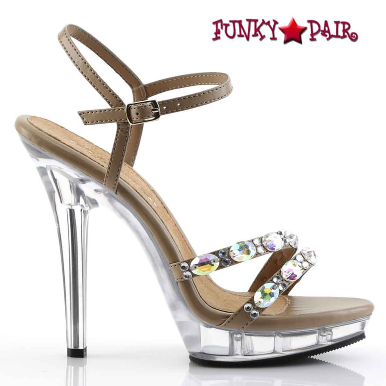 "Side View Lip-133, 5"" Ankle Strap Sandal with Rhinestones 