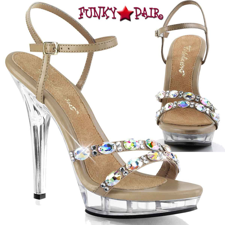 "Pleaser | Lip-133, 5"" Ankle Strap Sandal with Rhinestones"