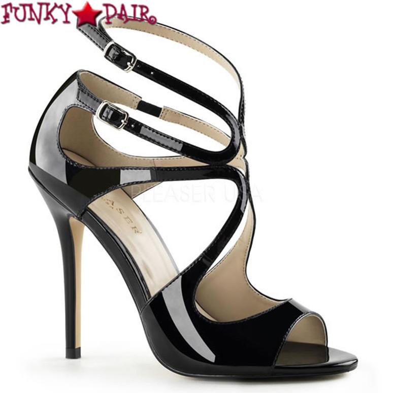 Amuse-15, 5 inch Heel Strappy Sandal color Black