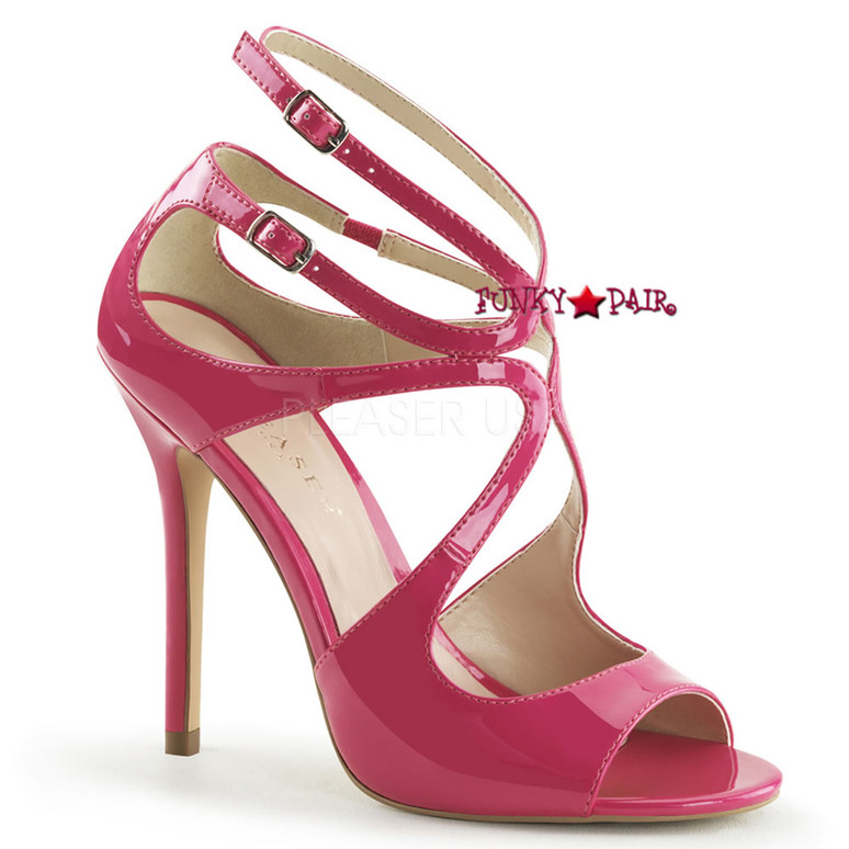 Amuse-15, 5 inch Heel Strappy Sandal color Hot Pink Pat