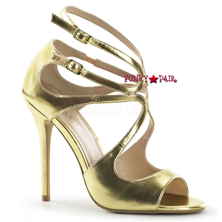 Amuse-15, 5 inch Heel Strappy Sandal color Gold Met Pu