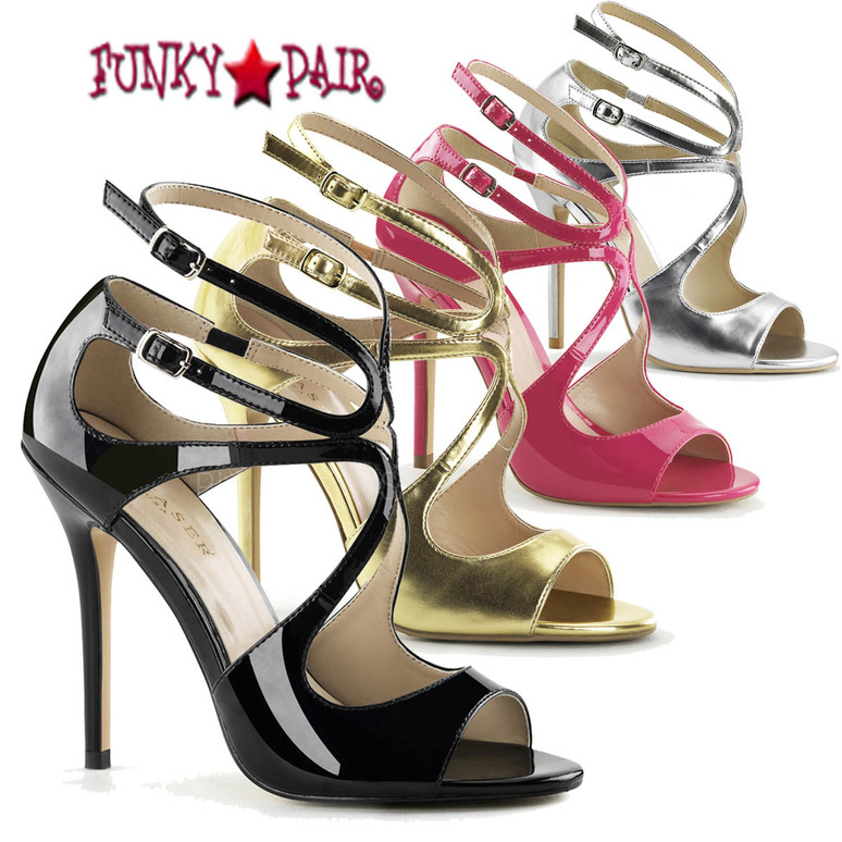 Amuse-15, 5 inch Heel Strappy Sandal color available: Silver, black, red, gold