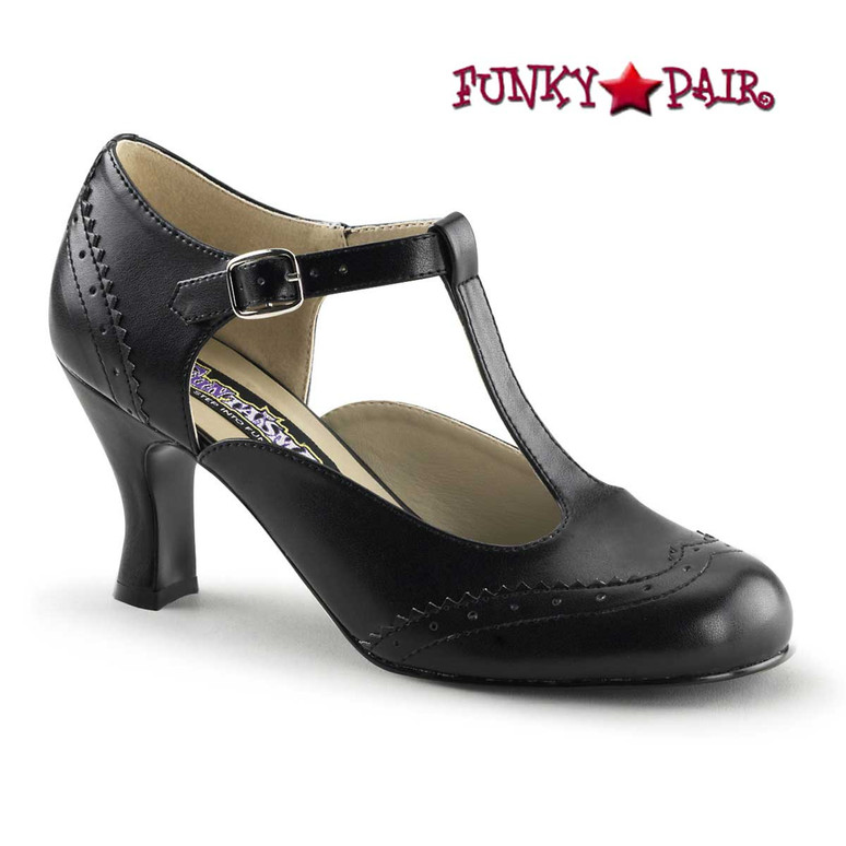 Flapper-26, 3 Inch Black Heel T-Strap Pump Costume Shoes