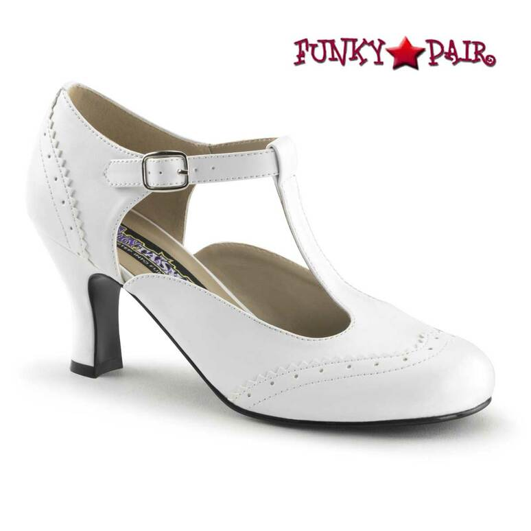 Flapper-26, 3 Inch White Heel T-Strap Pump Costume Shoes