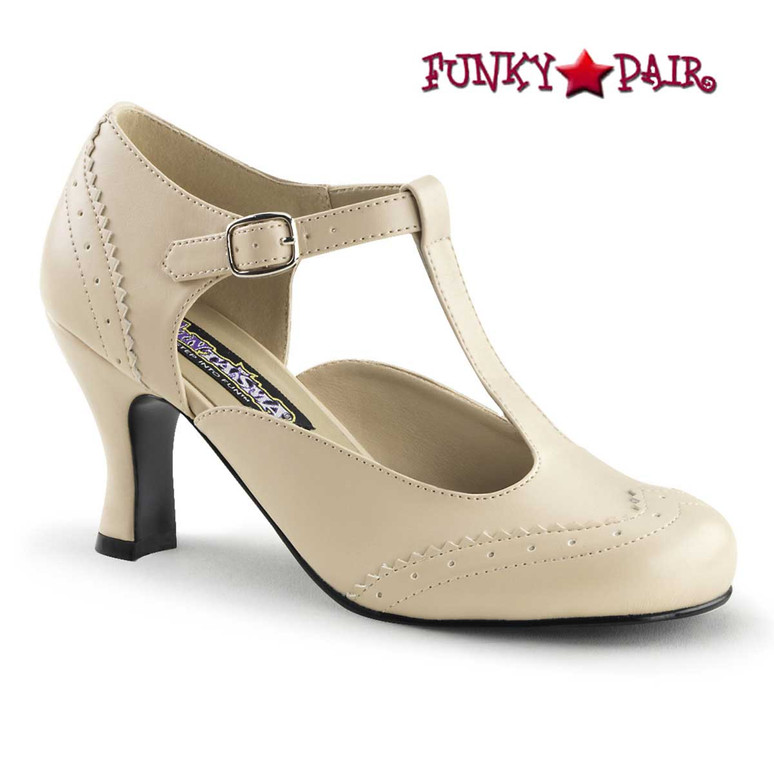 Flapper-26, 3 Inch Cream Heel T-Strap Pump Costume Shoes