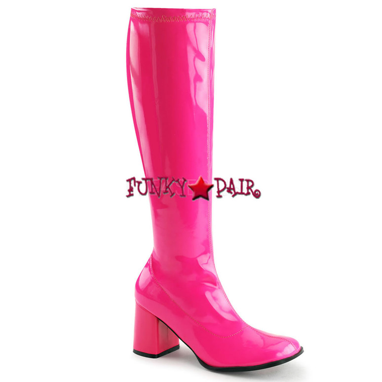 Hot Pink Neon UV GoGo Boots