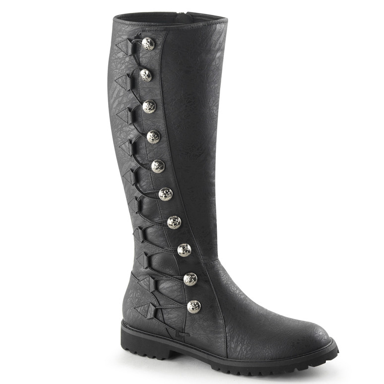Gotham-109, Men's Knee High Button Lace Up Boots   Funtasma