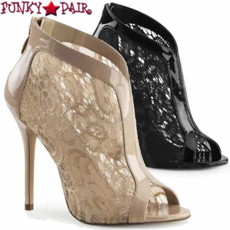 Amuse-48, 5 Inch Stiletto Heel Peep Toe Lace Bootie | PLEASER USA