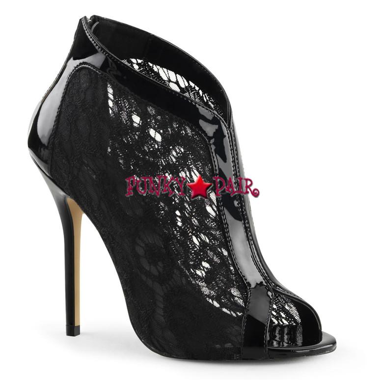 Black Amuse-48, 5 Inch Stiletto Heel Peep Toe Lace Bootie