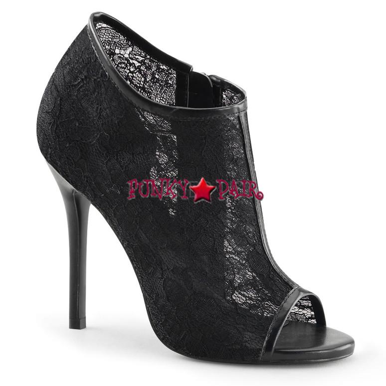 """Black 5"""" Heel Lace Open Toe Booties"""