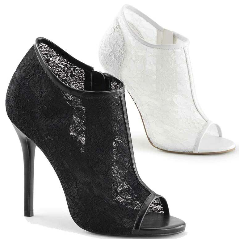 "5"" Heel Lace Open Toe Booties Fabulicious | Amuse-56,"