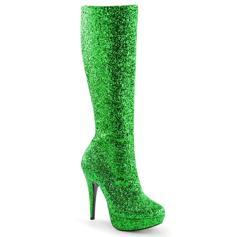 Lolita-300G Green Glitter Knee High Boots by Funtasma
