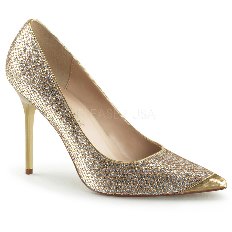 Classic Pumps   Pointed Toe Pump Classique-20 Color Gold Glittery Lame Fabric