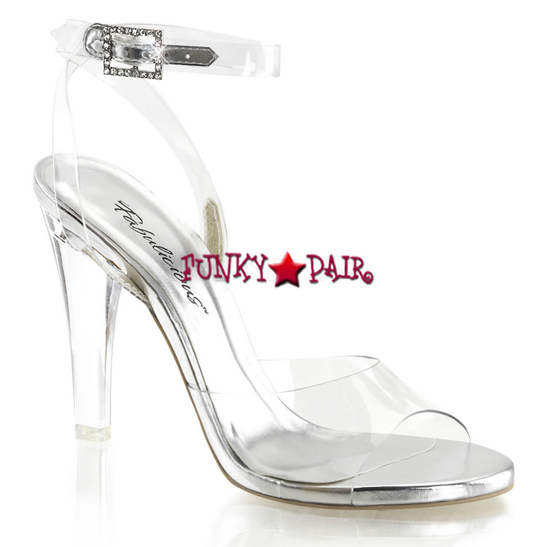 Clearly-406, 4.5 Inch Clear Ankle Strap Sandal   Pleaser Shoes