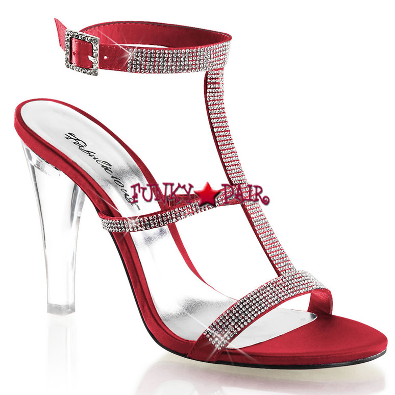 "Fabulicious | Clearly-418, 4.5"" Clear Evening Heel Tri-Band Rhinestones red"