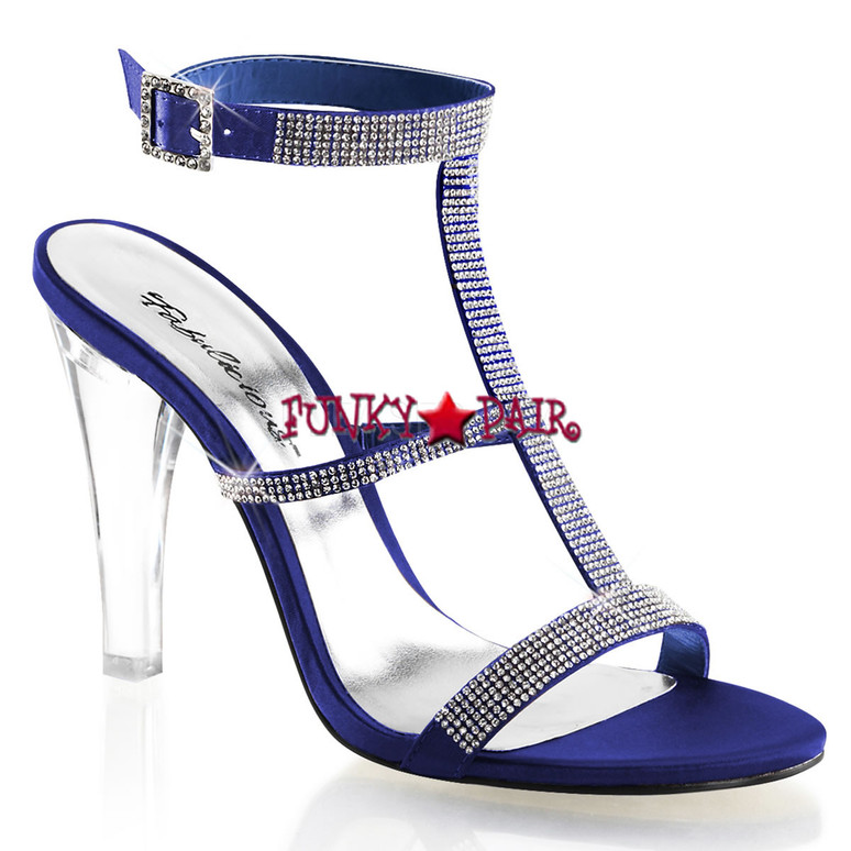 "Fabulicious | Clearly-418, 4.5"" Clear Evening Heel Tri-Band Rhinestones blue"