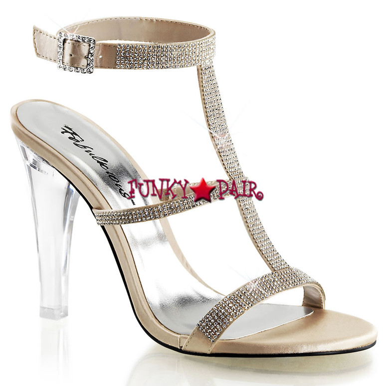 "Fabulicious | Clearly-418, 4.5"" Clear Evening Heel Tri-Band Rhinestones gold"