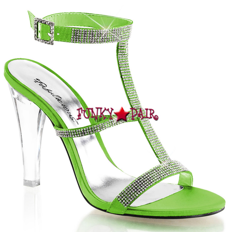 "Fabulicious | Clearly-418, 4.5"" Clear Evening Heel Tri-Band Rhinestones green"