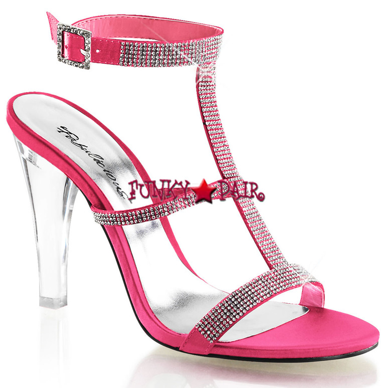 "Fabulicious | Clearly-418, 4.5"" Clear Evening Heel Tri-Band Rhinestones Hot Pink"
