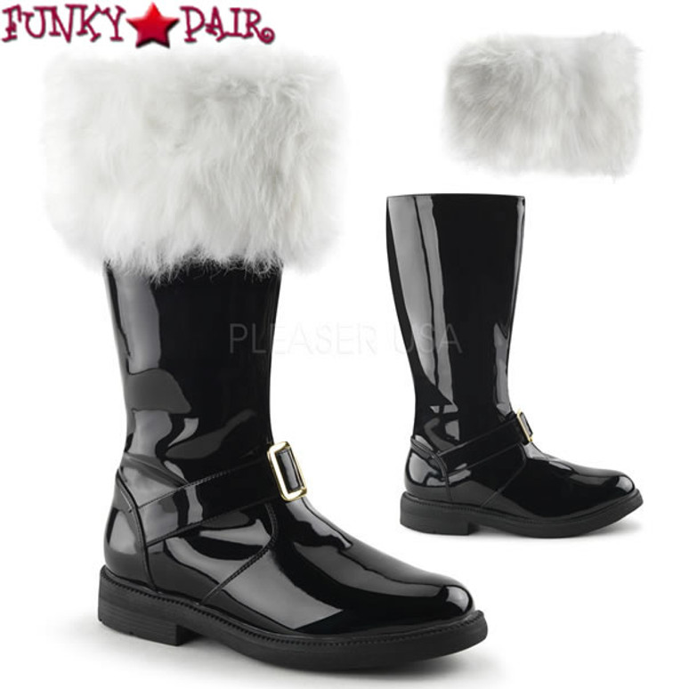Santa-102, Men's Knee High Boots with Removable Cuffs
