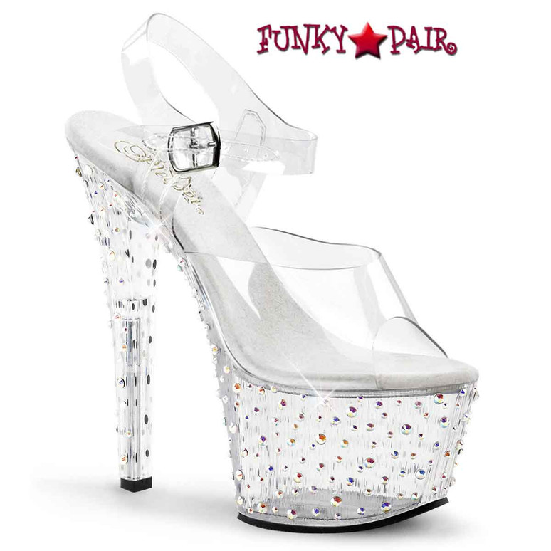 Stardance-708, Clear Rhinestones Stripper Shoes by Pleaser