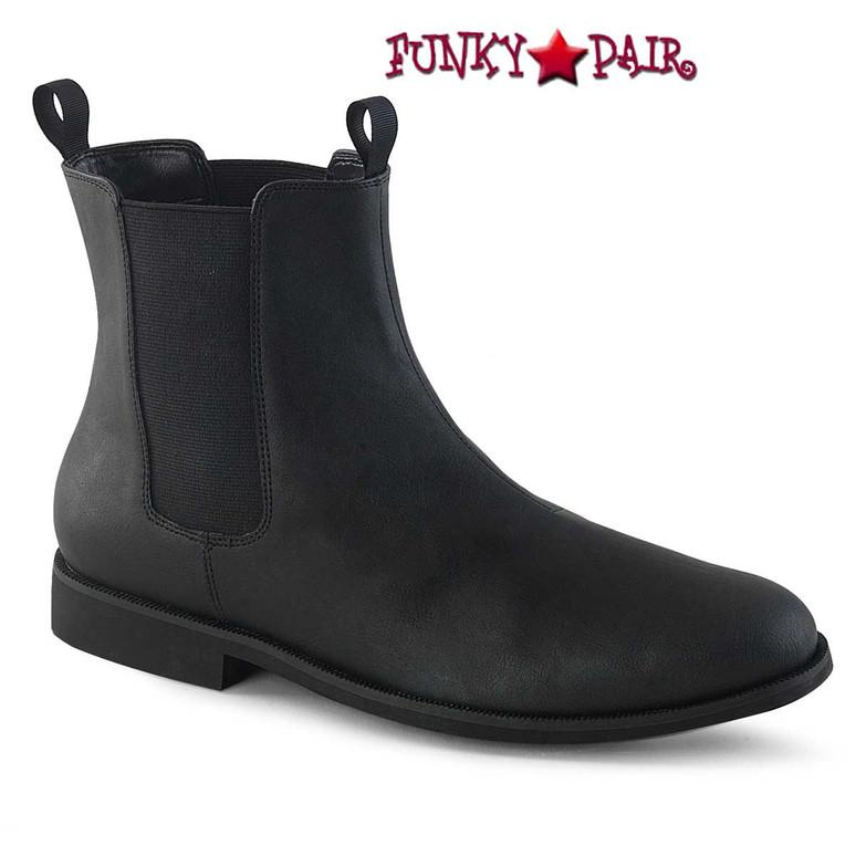 Trooper-12, Men's Pull on Chelsea Black Boot by Funtasma Shoes