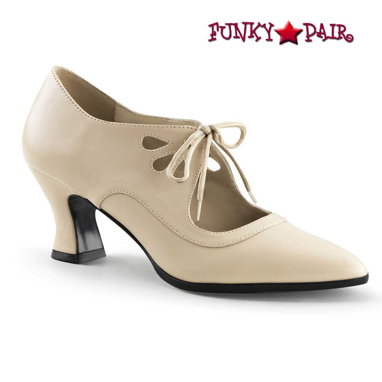 Funtasma Victorian-03,  Cream Kitten Heel Costume Pump